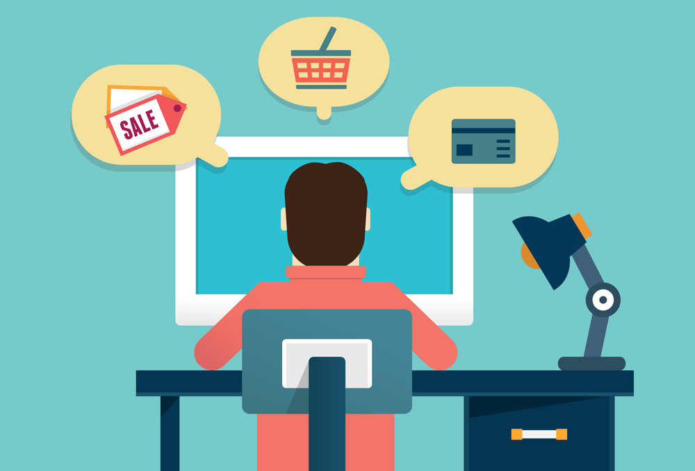 Flat concept of process e-marketing and e-commerce. Customer orders product - vector illustration - vector illustration