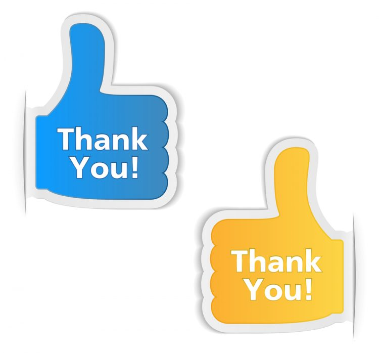 "Marketing After the Sale, AKA ""Say Thank You!"" Two thumb's up icons saying ""Thank You!"""