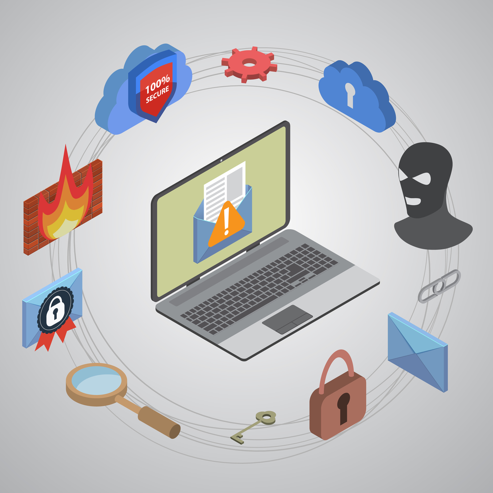Laptop with alert icon on the screen surrounded by web security iconography including a masked robber, firewall, padlocks and keys