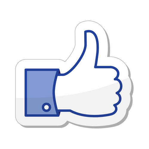 "Large Facebook ""like"" thumbs up."