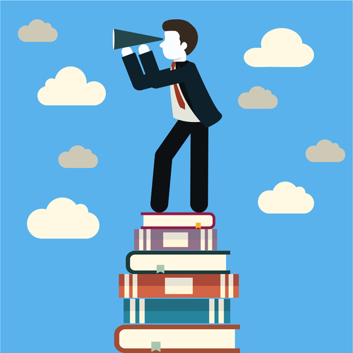 flat design for businessmen looking for future trends with eyeglass on tower of books