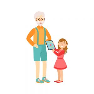 Granddaughter Showing Grandfather Tablet, Part Of Grandparent And Grandchild Passing Time Together Set Of Illustrations