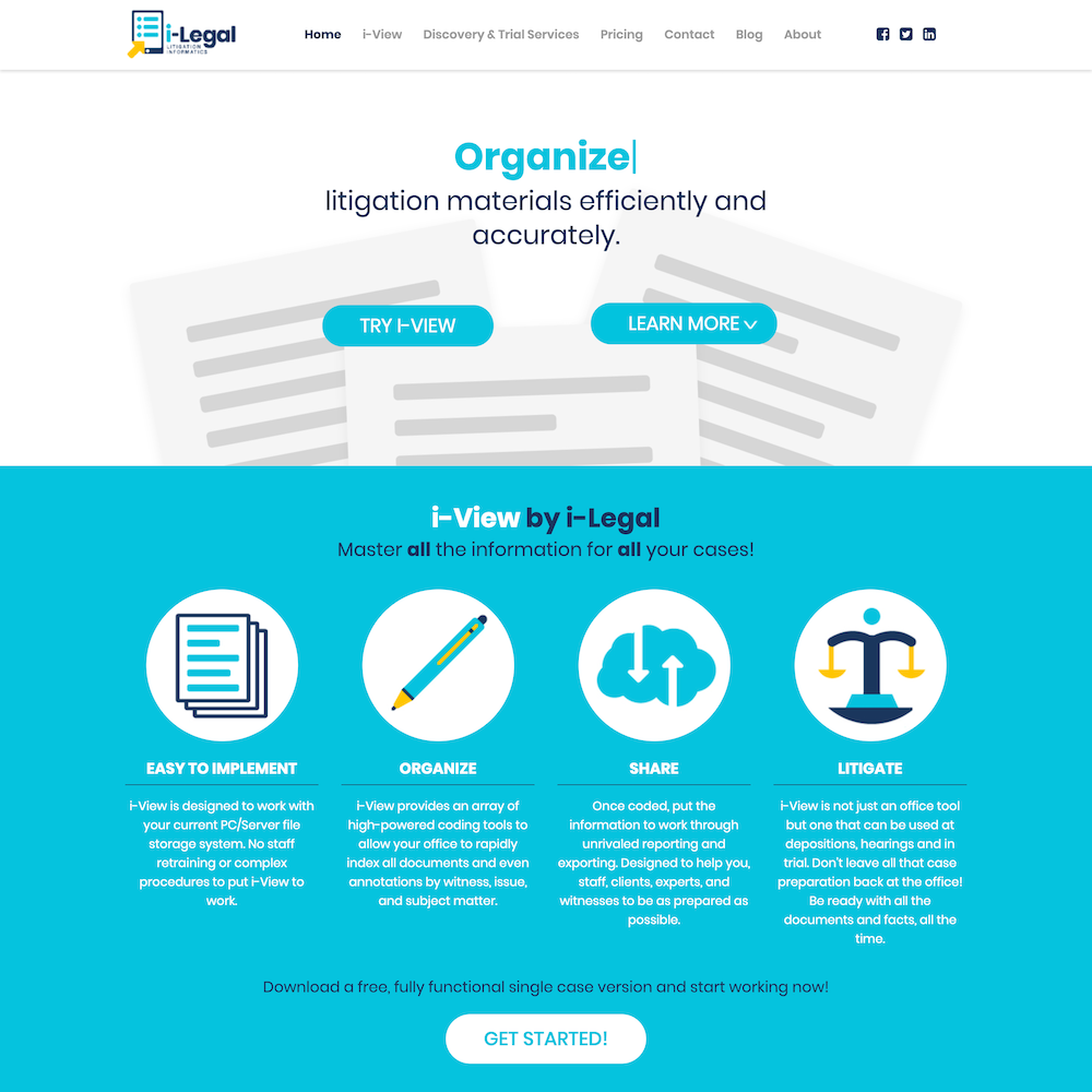 Screen capture of i-Legal's new homepage