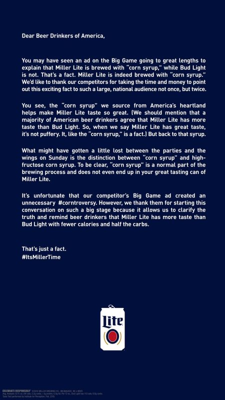 Miller Light's full-page NYT ad after #corngate
