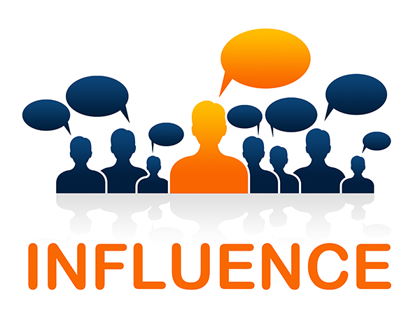 Social Influencer with speech bubble standing out in a crowd. Illustration.