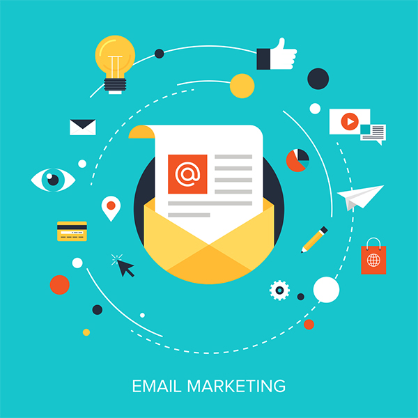 Email marketing graphics revolving around digital mail piece. illustration.