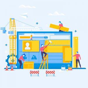 Illustration. People constructing social media account
