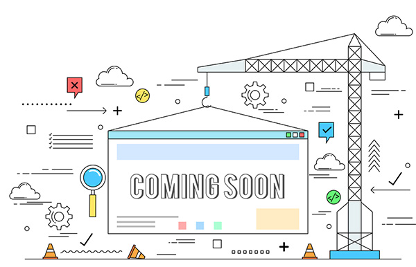 "Construction of Website. Labeled ""Coming Soon. Illustration."