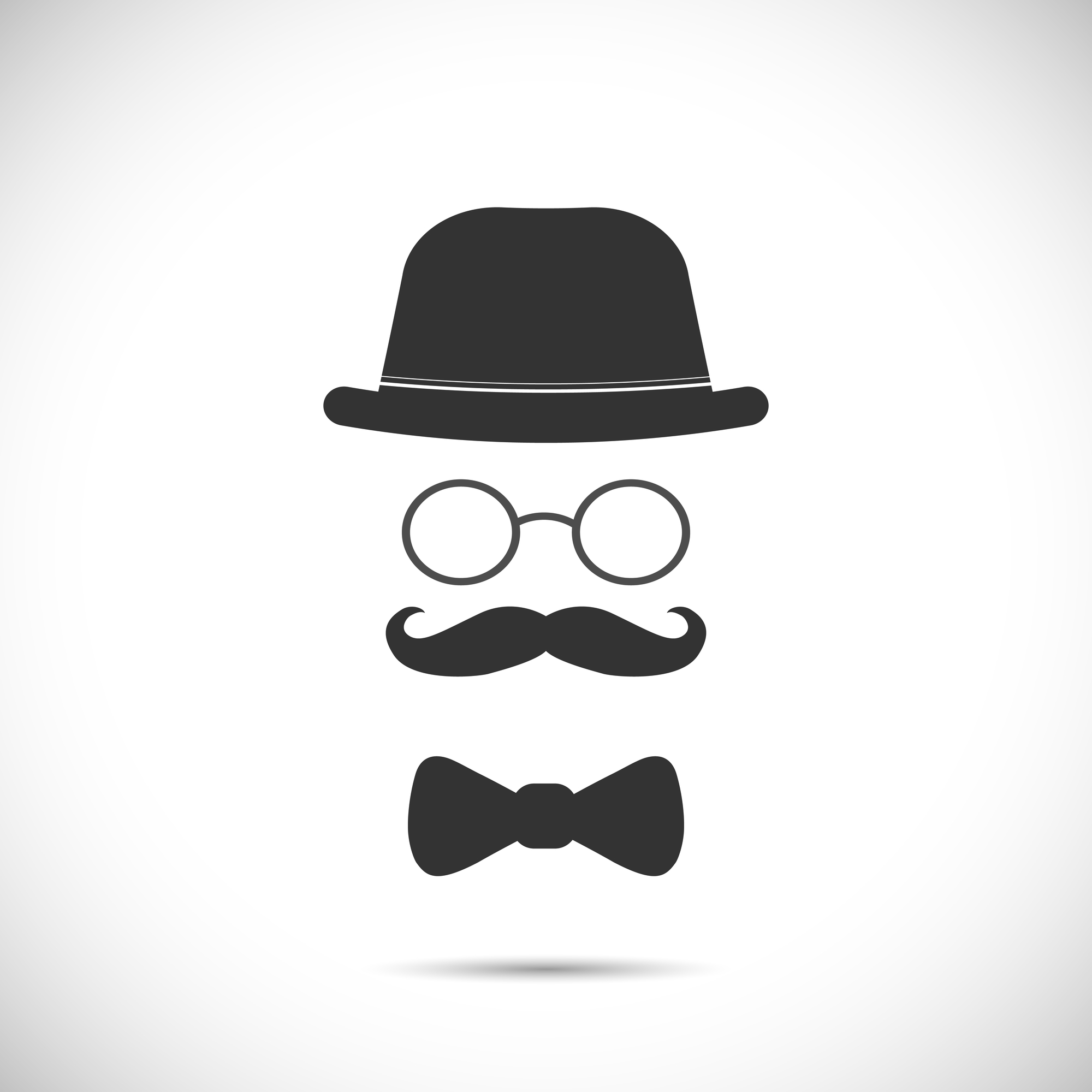 Illustration of a hat, glasses, mustache and bow tie design isolated on a white background.