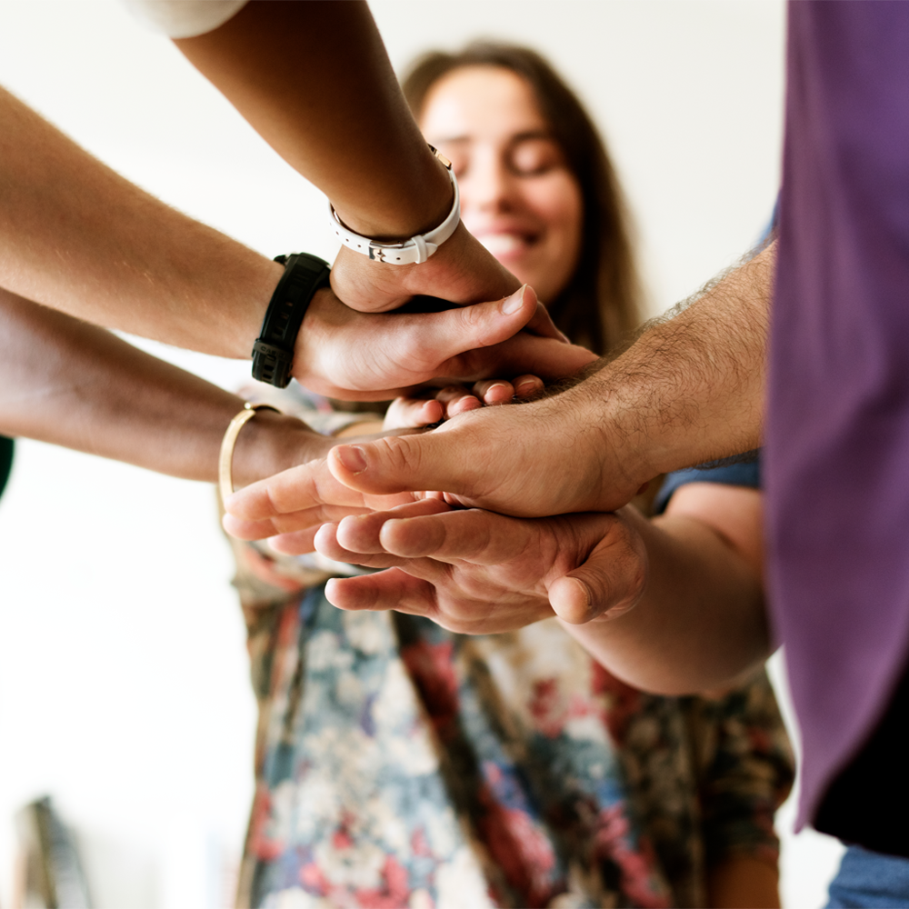 Group of people shaking hands