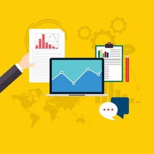 illustration. digital marketing tools and analytics