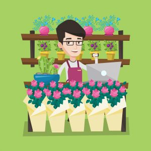 Illustration. Friendly florist standing behind the counter at flower shop using laptop.