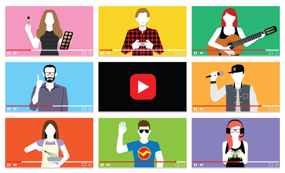 illustration. Grid of people engaged in various activities in similar format to Youtube videos.