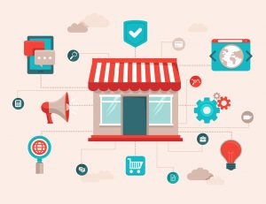 Illustration. Online shopping concepts. icons of internet marketing and business elements