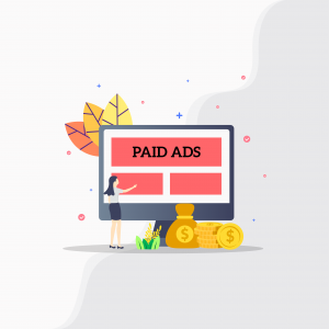 Illustration. Desktop with the text Paid Ads on screen.