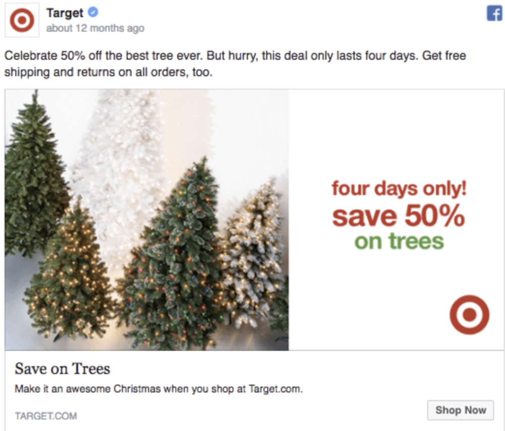 elements of holiday marketing campaigns: christmas tree sale