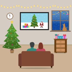 watching christmas commericals on tv